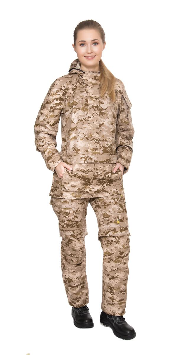 Костюм противоэнцефалитный женский Биостоп, цвет: бежевый камуфляж. 02/2/02. Размер XL-170/176 (54/56-170/176) - Туристическая одежда