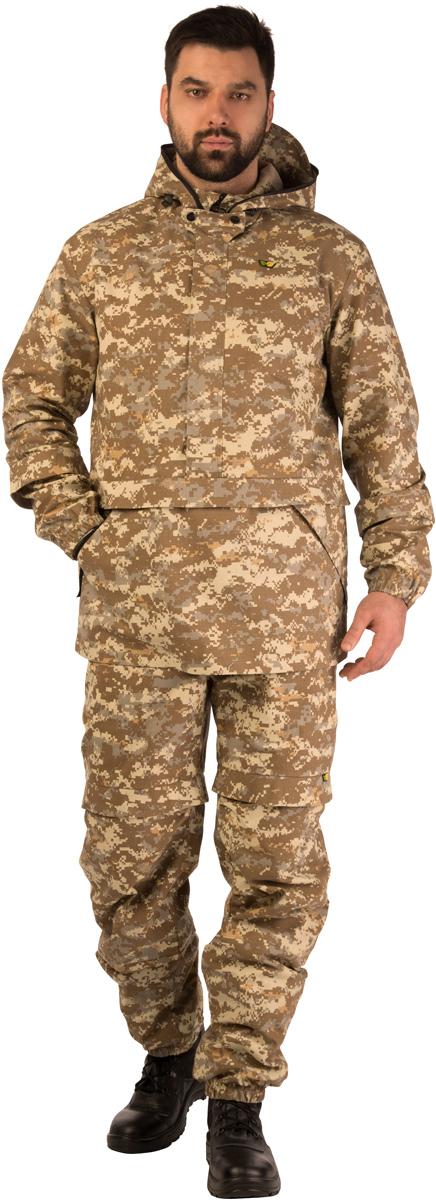 Костюм противоэнцефалитный мужской Биостоп Лайт, цвет: бежевый камуфляж. 03/1/10. Размер L-182/188 (52/54-182/188)03/1/10Костюм свободного кроя Биостоп Лайт обеспечивает защиту от укусов клещей, а система сдвоенных размеров делает его идеальным выбором для людей с нестандартной фигурой. Дополняющая костюм антимоскитная сетка защитит лицо от мошки и гнуса. Легкий, дышащий Биостоп Лайт очень удобен в носке, эргономичен и просто идеален для походов в лес в летнее время, станет надежным напарником на рыбалке и охоте в летний период. На куртке расположены два удобных кармана. Брюки дополнены двумя прорезными карманами на молниях. Обработанные противоклещевым средством участки костюма не контактируют с кожей. Защитные свойства костюма сохраняются даже после 50 стирок.