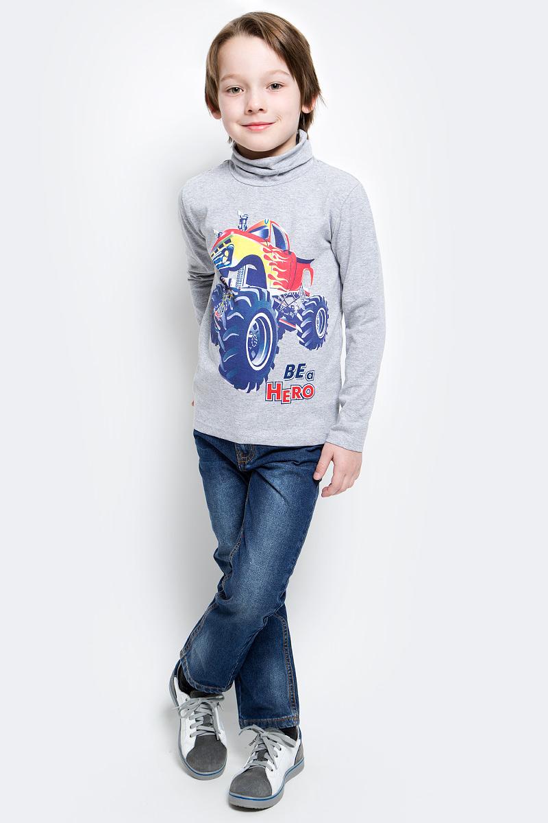 Водолазка для мальчика PlayToday, цвет: серый, красный, синий, желтый. 171069. Размер 128171069Водолазка прекрасно подойдет для прохладной погоды. Натуральный материал приятен к телу и не сковывает движений ребенка. Эластичная и мягкая горловина.
