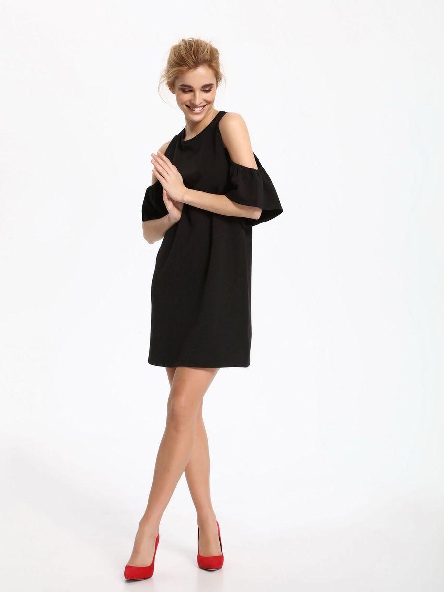 Платье Top Secret, цвет: черный. SSU1861CA. Размер 40 (50)SSU1861CAПлатье Top Secret выполнено из полиэстера и эластана. Модель с круглым вырезом горловины и короткими рукавами.
