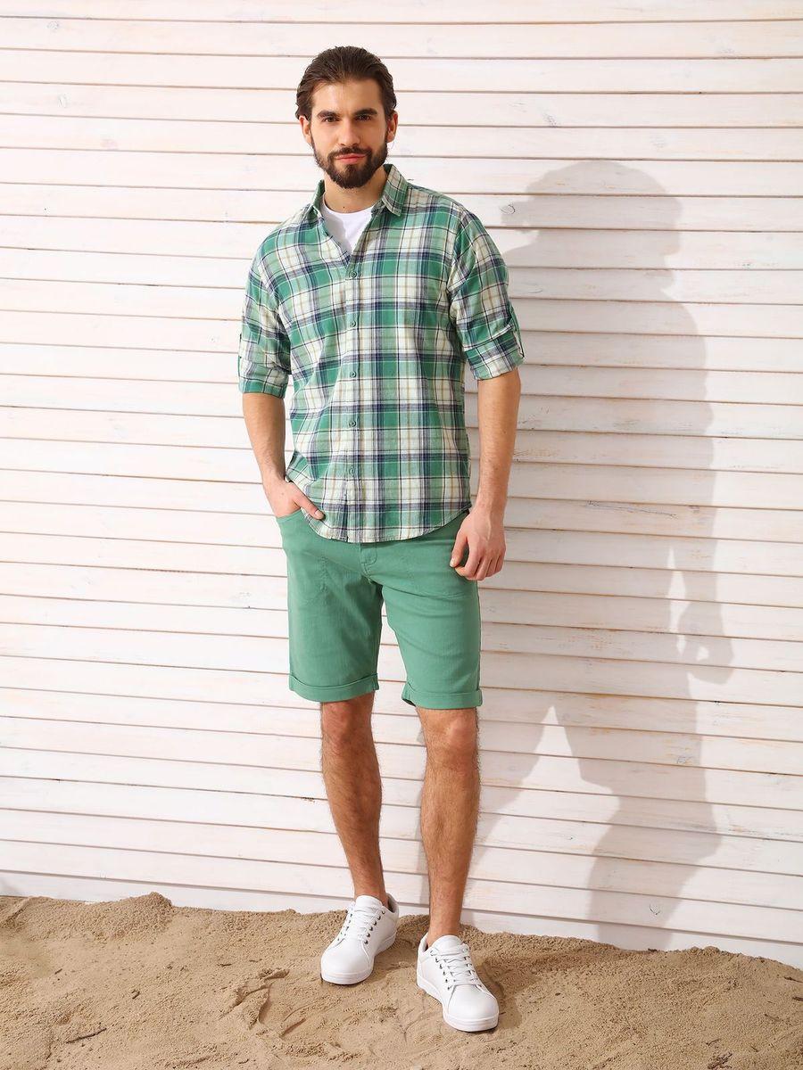 Рубашка мужская Top Secret, цвет: зеленый. SKL2336ZI. Размер 42/43 (50)SKL2336ZIРубашка мужская Top Secret выполнена из 100% хлопка. Модель с отложным воротником и длинными рукавами застегивается на пуговицы.