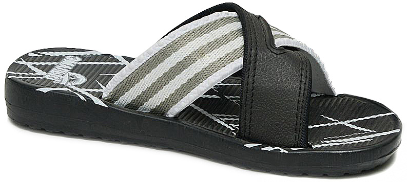 Шлепанцы для мальчика Эмальто, цвет: черный, серый. 9060А-11А. Размер 409060А-11АЛегкие шлепанцы Эмальто для мальчика выполнены из мягкого водонепроницаемого материала ЭВА с отделкой текстильной тесьмой. Широкая перемычка, состоящая из двух перекрещивающихся ремешков, надежно зафиксирует обувь на ноге. Невесомая подошва из ЭВА материала с рифлением обеспечит отличное сцепление с любой поверхностью. Такие шлепанцы прекрасно подойдут для похода в бассейн или для поездки на пляж.