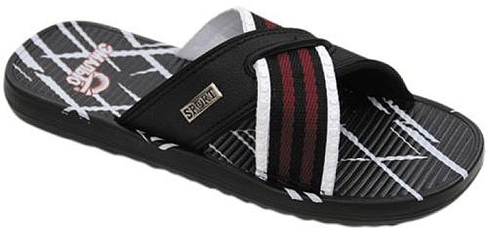 Шлепанцы для мальчика Эмальто, цвет: черный, белый. 9060А-11А. Размер 399060А-11АЛегкие шлепанцы Эмальто для мальчика выполнены из мягкого водонепроницаемого материала ЭВА с отделкой текстильной тесьмой. Широкая перемычка, состоящая из двух перекрещивающихся ремешков, надежно зафиксирует обувь на ноге. Невесомая подошва из ЭВА материала с рифлением обеспечит отличное сцепление с любой поверхностью. Такие шлепанцы прекрасно подойдут для похода в бассейн или для поездки на пляж.