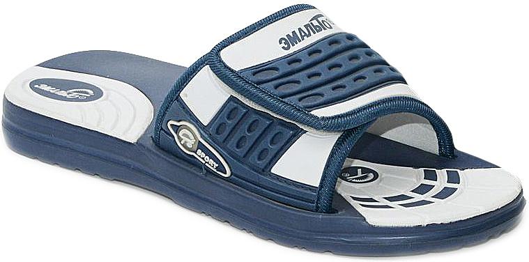 Шлепанцы для мальчика Эмальто, цвет: темно-синий, белый. 6012А. Размер 396012АЛегкие шлепанцы Эмальто для мальчика выполнены из мягкого водонепроницаемого материала ЭВА. Широкая перемычка с застежкой-липучкой надежно зафиксирует обувь на ноге. Невесомая подошва из ЭВА материала с рифлением обеспечит отличное сцепление с любой поверхностью. Такие шлепанцы прекрасно подойдут для похода в бассейн или для поездки на пляж.