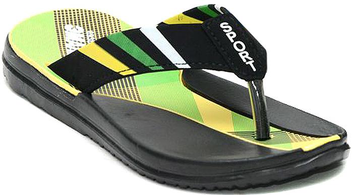 Шлепанцы для мальчика Эмальто, цвет: зеленый, черный, желтый. 693В-9. Размер 33693В-9Легкие шлепанцы Эмальто для мальчика выполнены из мягкого водонепроницаемого материала ЭВА и оформлены принтом в виде контрастных полос. Перемычка между пальцев надежно зафиксирует обувь на ноге. Невесомая подошва из ЭВА с рифлением обеспечит отличное сцепление с любой поверхностью. Такие шлепанцы прекрасно подойдут для похода в бассейн или для поездки на пляж.