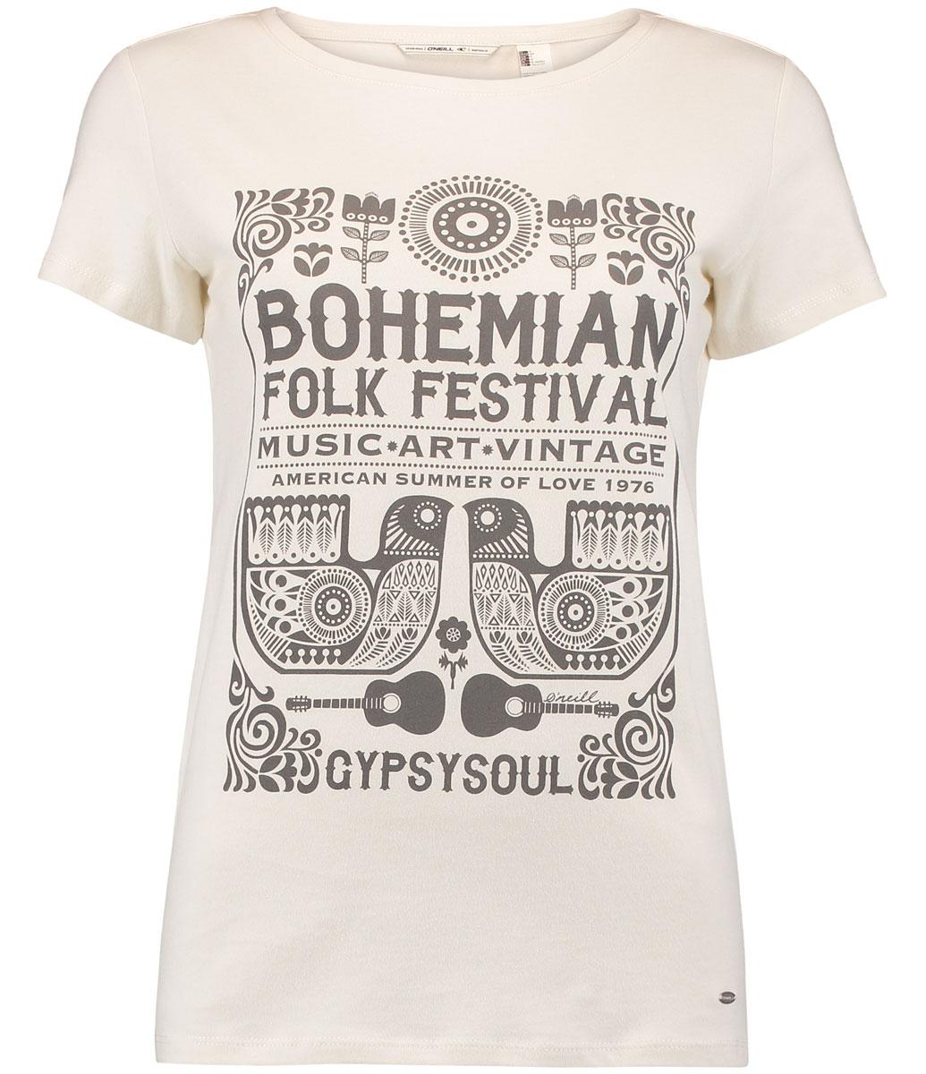 Футболка женская ONeill Lw Boho Festival T-Shirt, цвет: белый. 7A7330-1030. Размер XS (42/44)7A7330-1030Футболка женская ONeill выполнена из 100% хлопка. Модель имеет стандартный крой, короткий рукав и круглый вырез горловины. Футболка дополнена надписями в стиле бохо.