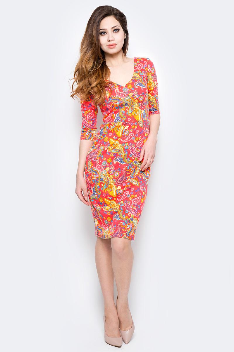 Платье Be in, цвет: морковный, мультиколор. Пл 33-1054. Размер S (42/44)Пл 33-1054Стильное платье Be in изготовлено из качественной смесовой ткани и застегивается сзади на молнию. Модель длины миди и рукавами 3/4 оформлено оригинальным принтом. Платье Be in - для девушки, стремящейся всегда оставаться стильной и элегантной.