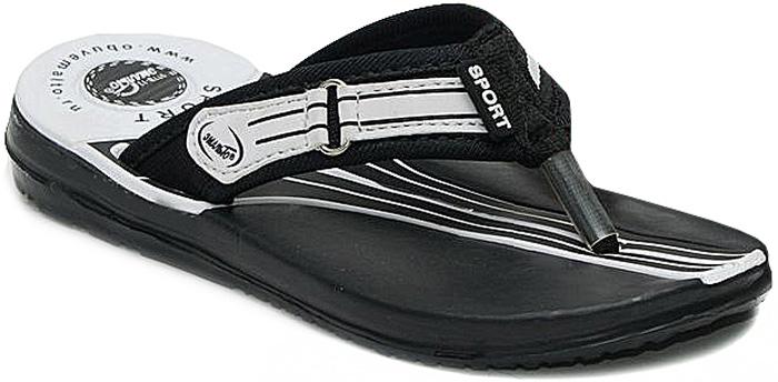 Шлепанцы для мальчика Эмальто, цвет: белый, черный. 977В-13. Размер 32977В-13Легкие шлепанцы Эмальто для мальчика выполнены из мягкого водонепроницаемого материала ЭВА. Перемычка между пальцев с отделкой из текстиля надежно зафиксирует обувь на ноге. Невесомая подошва из ЭВА с рифлением обеспечит отличное сцепление с любой поверхностью. Такие шлепанцы прекрасно подойдут для похода в бассейн или для поездки на пляж.