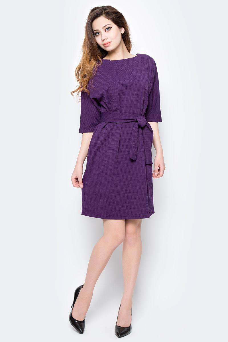 Платье Be in, цвет: фиолетовый. Пл 85-195. Размер 46/48Пл 85-195Стильное платье Be in изготовлено из качественной смесовой ткани. Модель длины миди с рукавами до локтя дополнена широким поясом. Платье Be in - для девушки, стремящейся всегда оставаться стильной и элегантной.