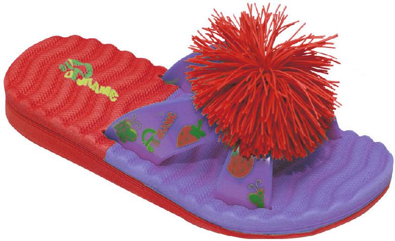 Шлепанцы для девочки Эмальто, цвет: фиолетовый, красный. 8025С-3. Размер 268025С-3Яркие шлепанцы от Эмальто придутся по душе вашей юной моднице. Модель выполнена полностью из легкого ЭВА-материала. Перемычка оформлена красочными рисунками и дополнена по центру помпоном. Рельеф на верхней поверхности подошвы предотвращает выскальзывание ноги. Материал ЭВА имеет пористую структуру, обладает великолепными теплоизоляционными и морозостойкими свойствами, придает обуви амортизационные свойства, мягкость при ходьбе, устойчивость к истиранию подошвы. Гибкая подошва дополнена рифлением, которое гарантирует идеальное сцепление с любыми поверхностями. Удобные шлепанцы прекрасно подойдут для похода в бассейн или на пляж.