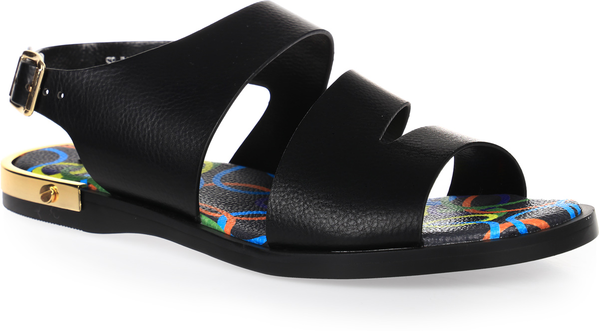 Сандалии женские LK collection, цвет: черный. SP-FA1701-2 PU (SP-F274A1-B). Размер 37SP-FA1701-2 PU (SP-F274A1-B)Стильные сандалии на плоской подошве выполнены из искусственной кожи. Сандалии фиксируются на ноге при помощи застежки-пряжки.