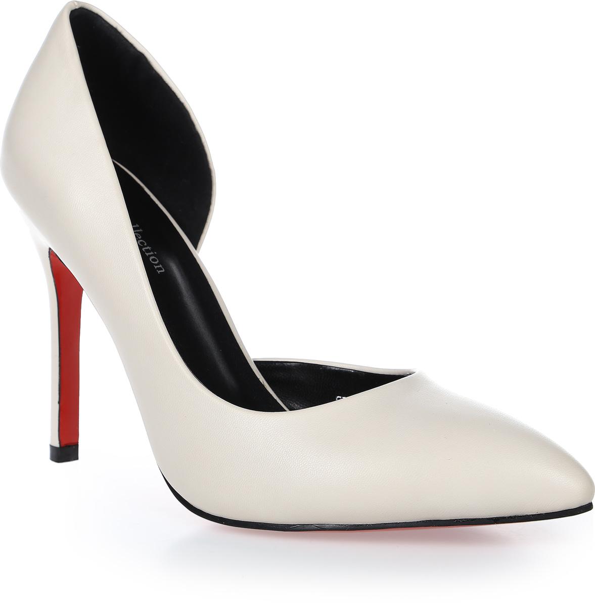 Туфли женские LK collection, цвет: молочный. SP-EA2201-3 PU (SP-E305001-6). Размер 37SP-EA2201-3 PU (SP-E305001-6)Стильные туфли-лодочки на высокой шпильке выполнены из искусственной кожи. Стелька выполнена из натуральной кожи.