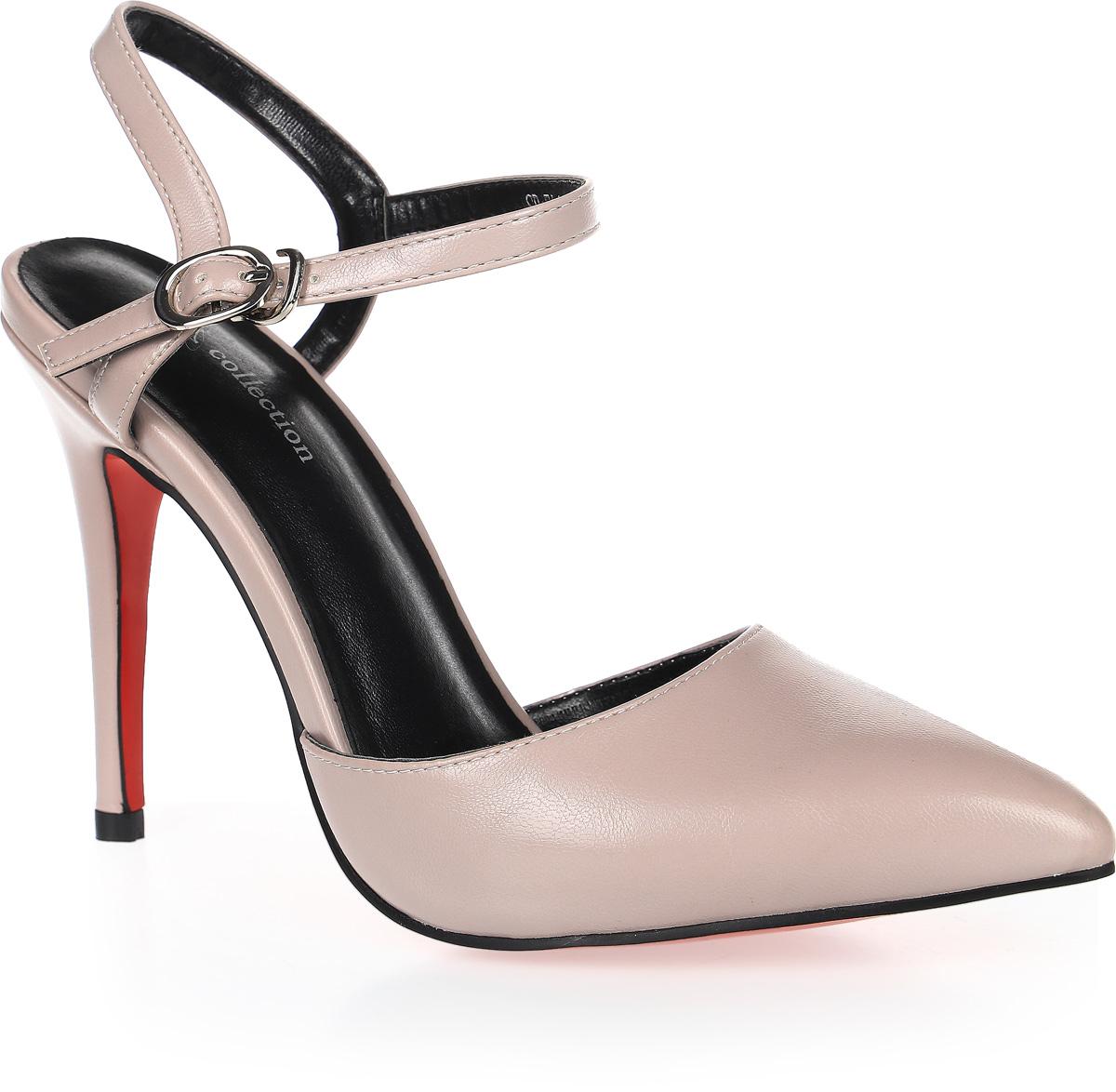 Туфли женские LK Collection, цвет: серый. SP-EA1901-3 PU (SP-E20001-5). Размер 39SP-EA1901-3 PU (SP-E20001-5)Стильные туфли-лодочки с открытой пяткой на высокой шпильке выполнены из искусственной кожи. Стелька выполнена из натуральной кожи.