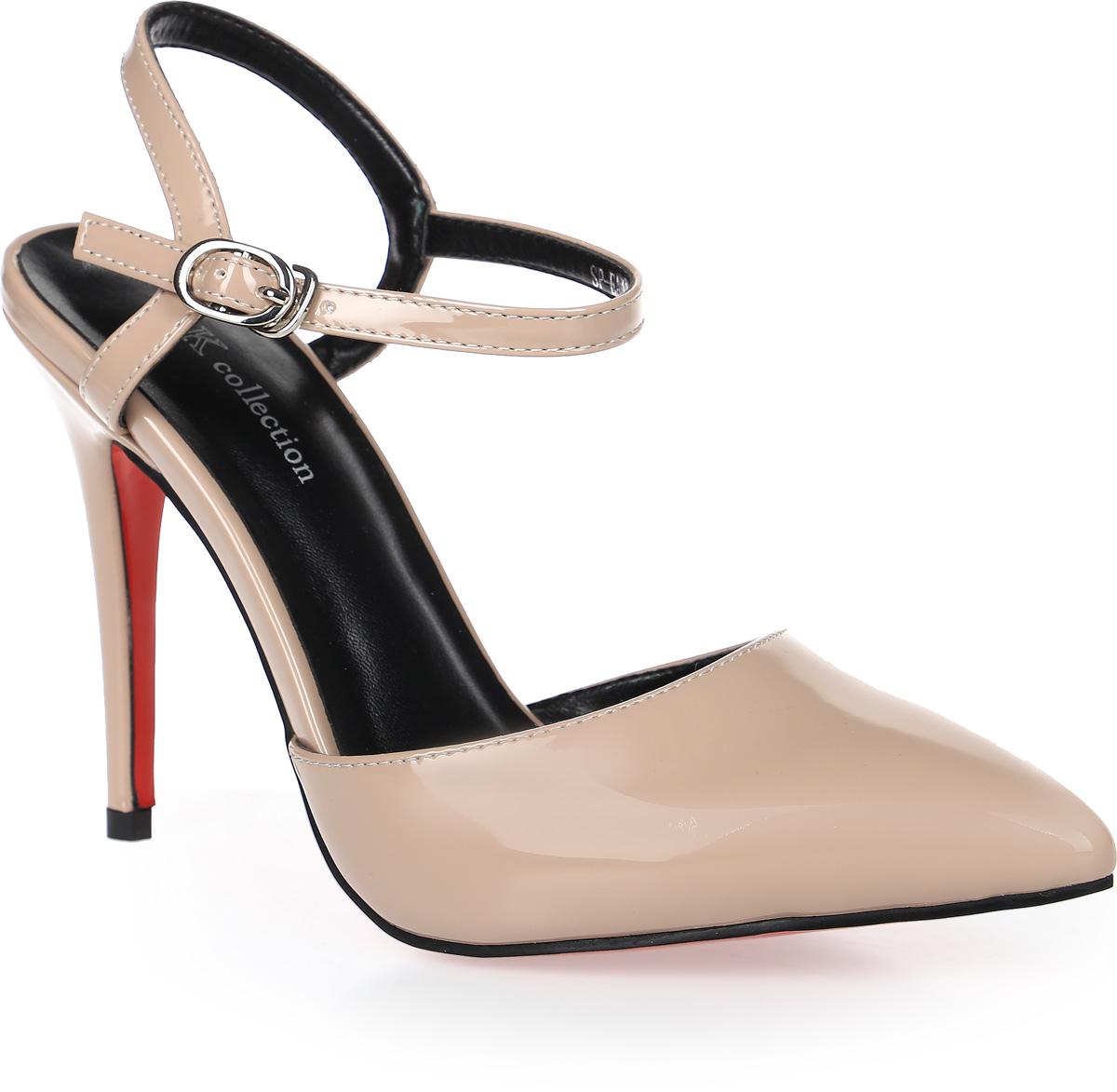 Туфли женские LK Collection, цвет: бежевый. SP-EA1901-2 PU (SP-E20001-4). Размер 35SP-EA1901-2 PU (SP-E20001-4)Стильные туфли-лодочки с открытой пяткой на высокой шпильке выполнены из искусственной кожи. Стелька выполнена из натуральной кожи.