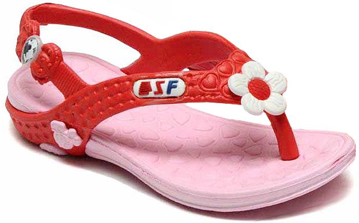 Сланцы для девочки Step Forward, цвет: красный, розовый. T-51D. Размер 25T-51DЛегкие и удобные сланцы Step Forward придутся по душе вашей девочке. Модель выполнена из ЭВА и оформлена декоративным элементом в виде цветка. Удобные ремешки гарантируют надежную фиксацию изделия на ноге. Рельефное основание подошвы обеспечивает уверенное сцепление с любой поверхностью. Стильные сланцы прекрасно подойдут для похода в бассейн или на пляж.