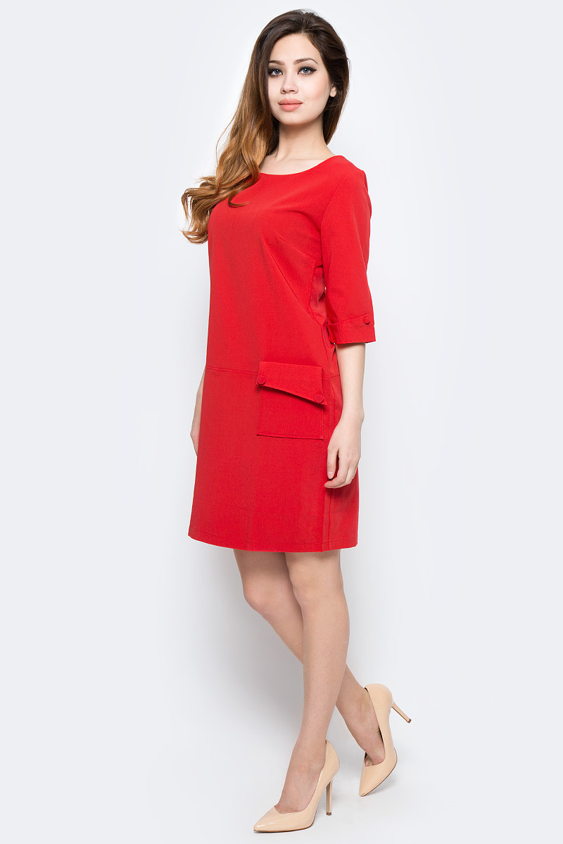 Платье Milton, цвет: красный. WD-2454F. Размер 42WD-2454FПлатье прямого силуэта с втачным рукавом длиной 3/4 с манжетой. На полочке расположен накладной карман с левой стороны.