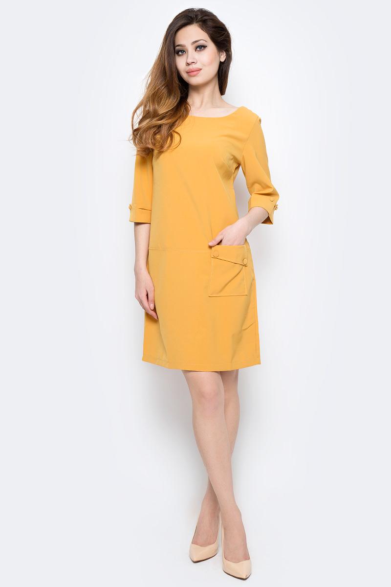 Платье Milton, цвет: желтый. WD-2454F. Размер 48WD-2454FПлатье прямого силуэта с втачным рукавом длиной 3/4 с манжетой. На полочке расположен накладной карман с левой стороны.