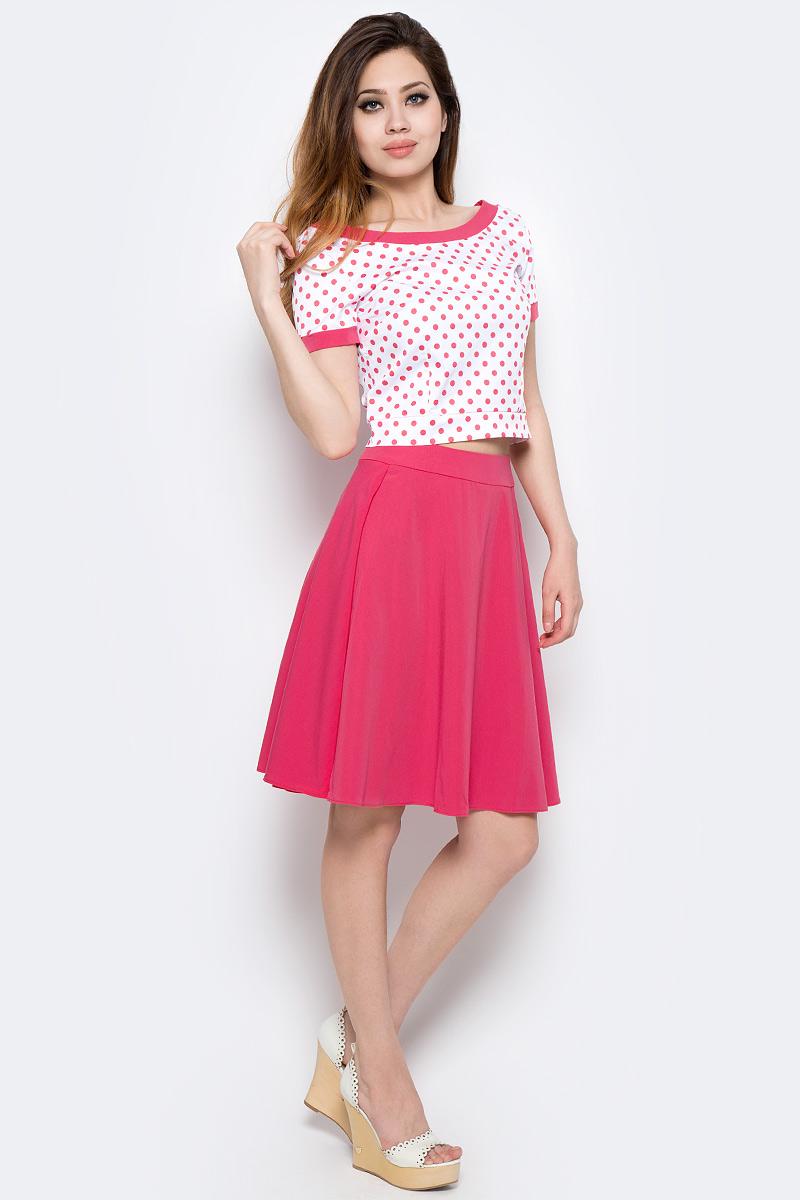 Комплект одежды женский Milton: юбка, топ, цвет: красный. WD-2492F. Размер 46WD-2492FКомплект состоит из топа и юбки. Топ с короткими втачными рукавами, юбка расклешенная со складками.