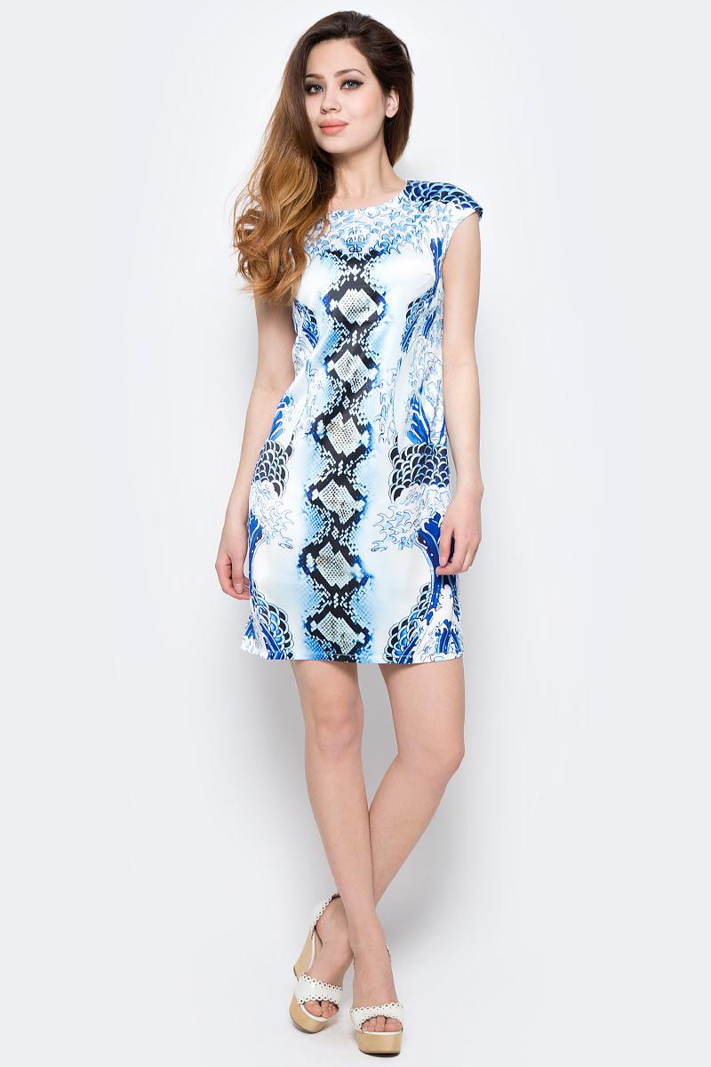 Платье Milton, цвет: белый, голубой. WD-2440C. Размер L (48)WD-2440CПлатье полуприлегающего силуэта с короткими рукавами-реглан выполнено из купонной ткани.
