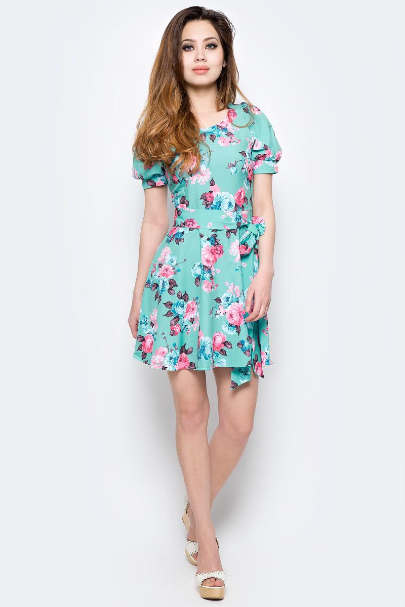 Платье Milton, цвет: зеленый. WD-2479F. Размер 46WD-2479FПлатье прилегающего силуэта, без рукавов, отрезное по линии талии, с круглым вырезом горловины. Юбка расклешенная, со съемным поясом.