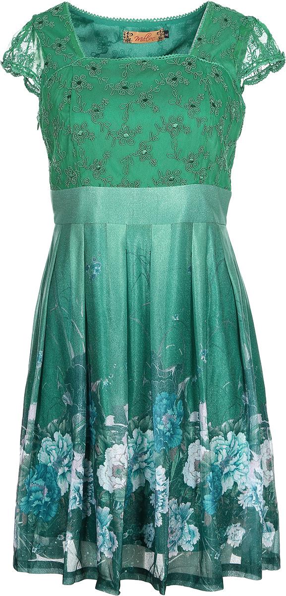 Платье Milton, цвет: зеленый. WD-2443C. Размер XXL (52)WD-2443CПлатье А-образного силуэта с завышенной линией талии и короткими втачными рукавами.