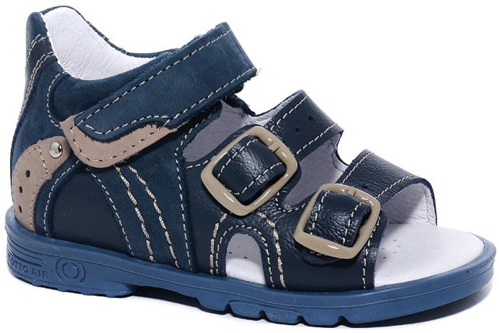 Сандалии для мальчика Тотто, цвет: темно-синий, бежевый. 0223-КП. Размер 220223-КПСтильные сандалии для мальчика от Тотто выполнены из натуральной высококачественной кожи и оформлены вставками из натуральной замши, перфорацией, металлической заклепкой, прострочкой контрастного цвета. Модель фиксируется на ножке ребенка при помощи одного ремешка с застежкой-липучкой и двух ремешков с застежками-пряжками. Длина ремешков регулируется за счет болтов. Закрытый жесткий задник защищает детскую стопу от повреждений при движении. Внутренняя поверхность и стелька изготовлены из натуральной кожи. Стелька дополнена супинатором, который отвечает за правильное положение ноги ребенка при ходьбе, предотвращает плоскостопие. Перфорация на стельке позволяет ножкам дышать. Ортопедический каблук Томаса (каблук высотой от 2 до 5 мм) укрепляет подошву под средней частью стопы и препятствует заваливанию детской стопы внутрь. Каблук и подошва, выполненные из полимера, дополнены рифленой поверхностью.