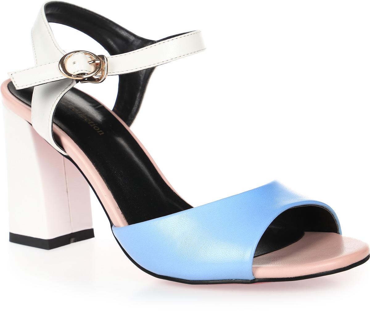 Босоножки женские LK collection, цвет: голубой. SP-QA2102-2 PU (SP-Q32001-2). Размер 38SP-QA2102-2 PU (SP-Q32001-2)Стильные босоножки на устойчивом каблуке выполнены из искусственной кожи. Стелька выполнена из натуральной кожи. Босоножки фиксируются на ноге при помощи застежки-пряжки.