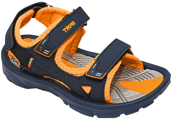 Сандалии для мальчика Эмальто, цвет: оранжевый, темно-синий. 8668А. Размер 288668АМодные сандалии для мальчика от Эмальто полностью выполнены из материала ЭВА. Верхняя поверхность подошвы дополнена рельефом, который обладает массажными свойствами. Ремешки с застежками-липучками надежно зафиксируют модель на ноге. Модель оформлена перфорацией, прострочкой и нашивками на ремешках. Подошва дополнена рифлением. Легкие и удобные сандалии займут достойное место в летнем гардеробе вашего ребенка.