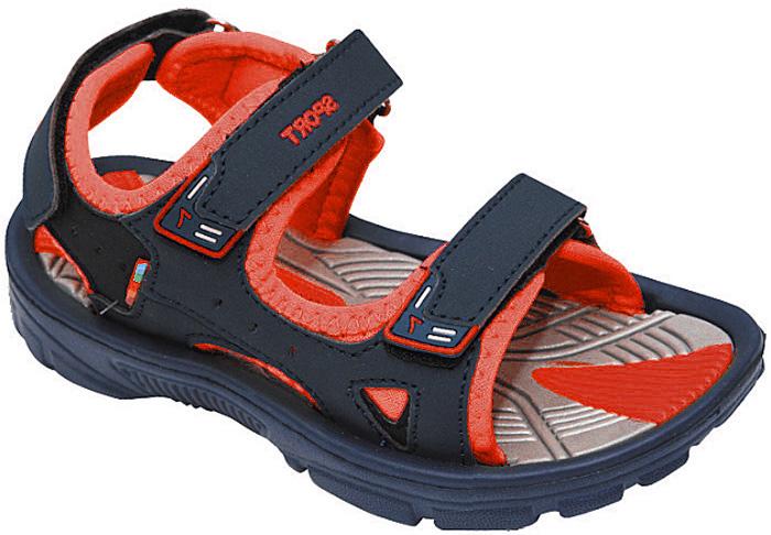 Сандалии для мальчика Эмальто, цвет: красный, темно-синий. 8668А. Размер 278668АМодные сандалии для мальчика от Эмальто полностью выполнены из материала ЭВА. Верхняя поверхность подошвы дополнена рельефом, который обладает массажными свойствами. Ремешки с застежками-липучками надежно зафиксируют модель на ноге. Модель оформлена перфорацией, прострочкой и нашивками на ремешках. Подошва дополнена рифлением. Легкие и удобные сандалии займут достойное место в летнем гардеробе вашего ребенка.