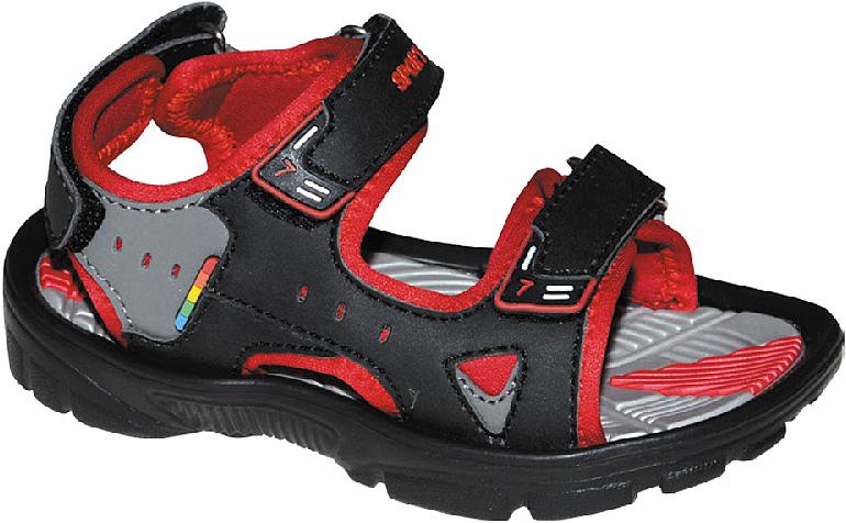 Сандалии для мальчика Эмальто, цвет: красный, черный. 8669А. Размер 288669АМодные сандалии для мальчика от Эмальто полностью выполнены из материала ЭВА. Верхняя поверхность подошвы дополнена рельефом, который обладает массажными свойствами. Ремешки с застежками-липучками надежно зафиксируют модель на ноге. Модель оформлена перфорацией, декоративной прострочкой и нашивками на ремешках. Подошва дополнена рифлением. Легкие и удобные сандалии займут достойное место в летнем гардеробе вашего ребенка.
