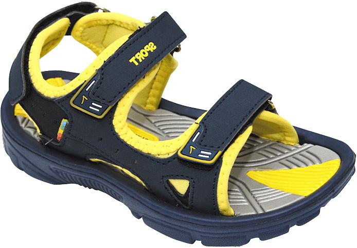 Сандалии для мальчика Эмальто, цвет: желтый, темно-синий. 8668А. Размер 288668АМодные сандалии для мальчика от Эмальто полностью выполнены из материала ЭВА. Верхняя поверхность подошвы дополнена рельефом, который обладает массажными свойствами. Ремешки с застежками-липучками надежно зафиксируют модель на ноге. Модель оформлена перфорацией, прострочкой и нашивками на ремешках. Подошва дополнена рифлением. Легкие и удобные сандалии займут достойное место в летнем гардеробе вашего ребенка.