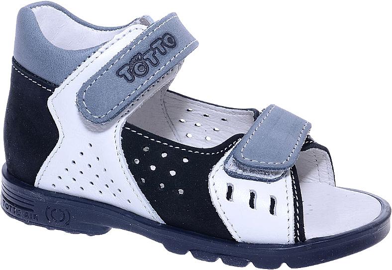 Сандалии для мальчика Тотто, цвет: черный, белый, серый. 025-КП. Размер 24025-КПСтильные сандалии для мальчика от Тотто выполнены из натурального высококачественного нубука и оформлены вставками из натуральной кожи, тисненым названием бренда на одном из ремешков, декоративной прострочкой. Перфорация обеспечивает хороший воздухообмен, позволяет ножкам дышать. Два ремешка на застежках-липучках гарантируют надежную фиксацию модели на ножке. Закрытый жесткий задник защищает детскую стопу от повреждений при движении. Внутренняя поверхность и стелька изготовлены из натуральной кожи. Стелька дополнена супинатором, который отвечает за правильное положение ноги ребенка при ходьбе, предотвращает плоскостопие, и перфорацией. Ортопедический каблук Томаса (каблук высотой от 2 до 5 мм) укрепляет подошву под средней частью стопы и препятствует заваливанию детской стопы внутрь. Каблук и подошва, выполненные из полимера, дополнены рифленой поверхностью.
