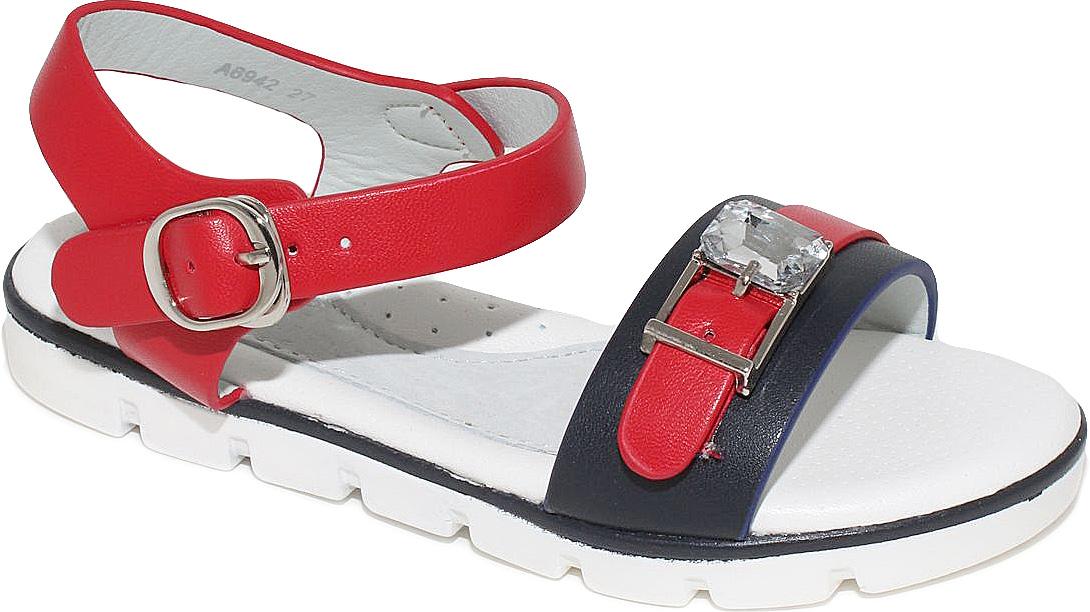 Босоножки для девочки Капитошка, цвет: красный, темно-синий. A6942. Размер 30A6942Босоножки для девочки от Капитошка выполнены из искусственной кожи и оформлены спереди декоративным ремешком с искусственным камнем. На ноге модель фиксирует ремешок с пряжкой и крючком. Носок и пятка открыты. Внутренняя поверхность изготовлена из натуральной и искусственной кожи, стелька - из натуральной кожи. Подошва из резины оснащена рифлением.