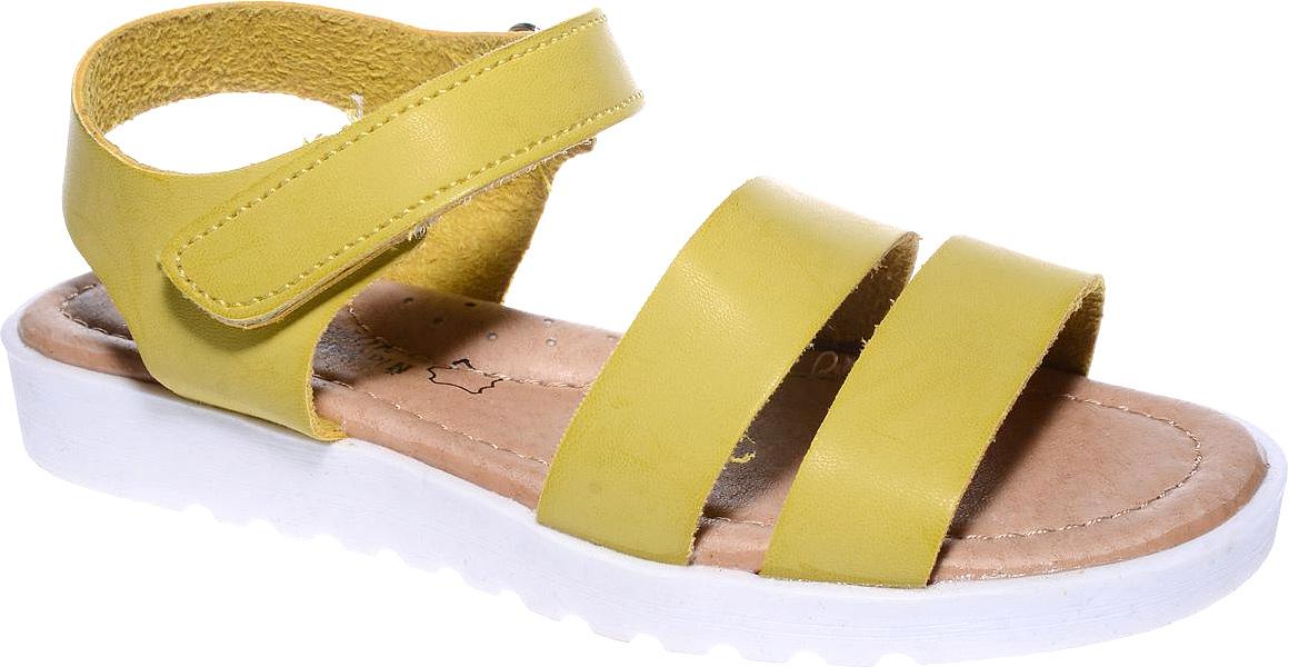 Босоножки для девочки Счастливый ребенок, цвет: желтый. YT123. Размер 33YT123Босоножки для девочки Счастливый ребенок выполнены из искусственной кожи. На ноге модель фиксируется с помощью ремешка с липучкой. Внутренняя поверхность и стелька изготовлены из натуральной кожи. Подошва из полимерного термопластичного материала оснащена рифлением.