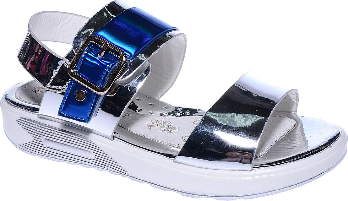 Босоножки для девочки Счастливый ребенок, цвет: серебряный, синий. LG999-3D. Размер 36LG999-3DБосоножки для девочки Счастливый ребенок выполнены из искусственной лаковой кожи и оформлены декоративным ремешком с пряжкой. На ноге модель фиксируется с помощью ремешка с липучкой. Внутренняя поверхность и стелька изготовлены из натуральной кожи. Подошва из полимерного термопластичного материала оснащена рифлением.