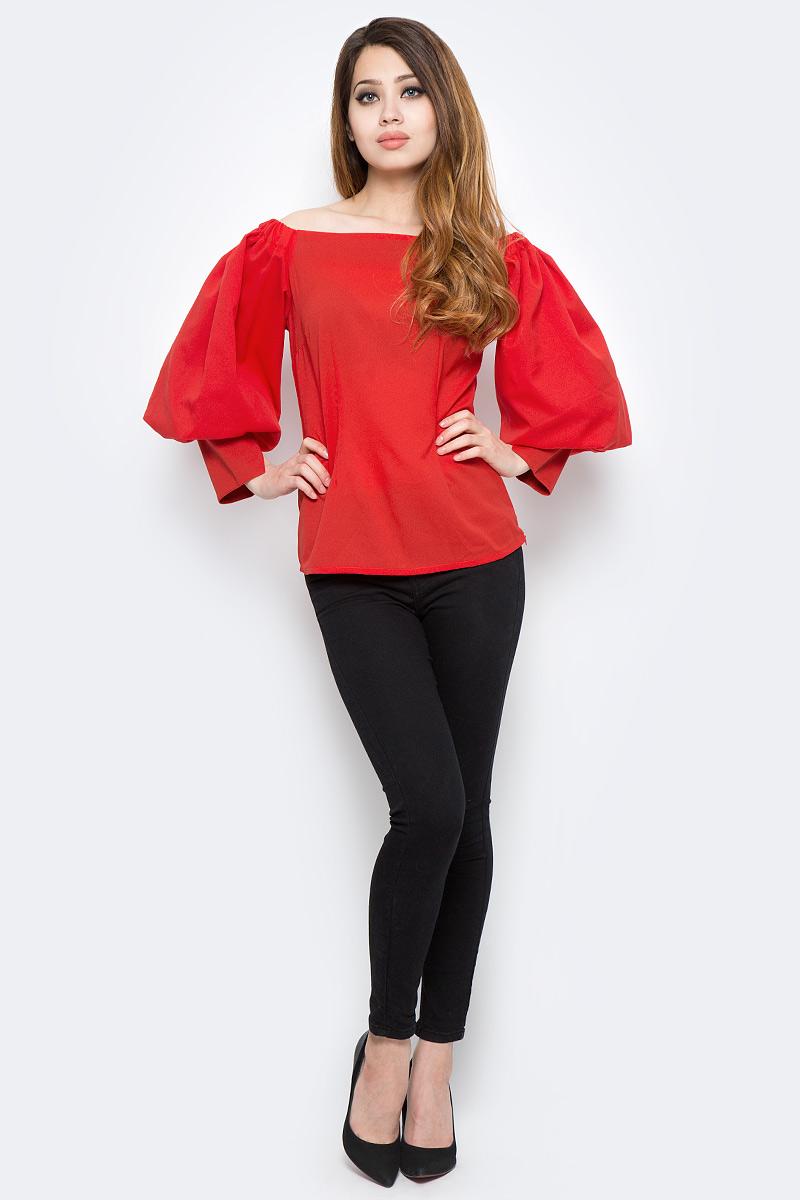 Блузка женская Be in, цвет: красный. Бл 34-15. Размер 46/48Бл 34-15Блузка Be in изготовлена из качественной смесовой ткани. Модель выполнена с пышными рукавами и открытыми плечами. Манжеты рукавов дополнены разрезами.