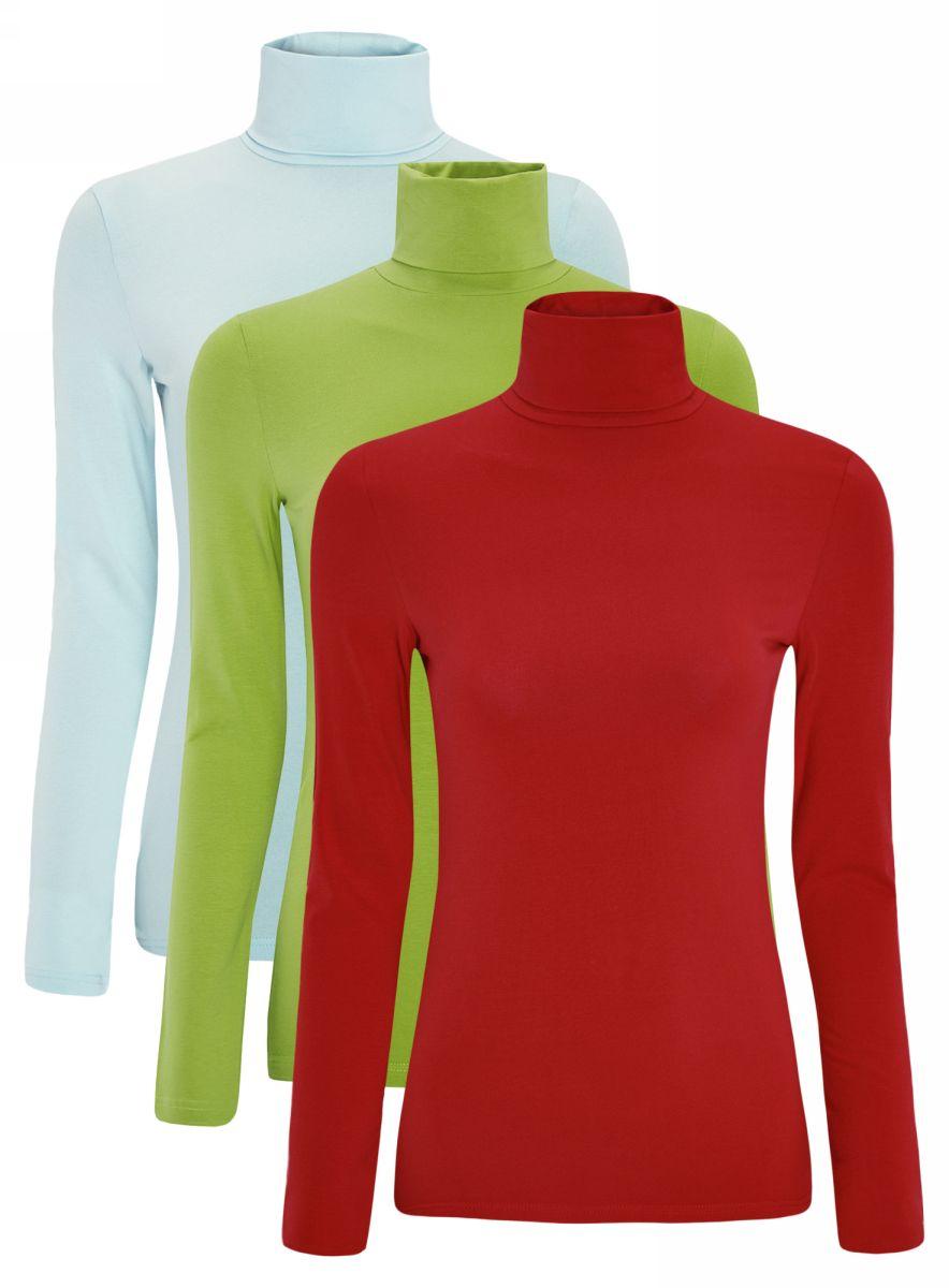 Водолазка женская oodji Ultra, цвет: голубой, зеленый, красный, 3 шт. 15E02001T3/46147/19CFN. Размер M (46)15E02001T3/46147/19CFNБазовая женская водолазка oodji Ultra выполнена из эластичной хлопковой ткани. У модели воротник-гольф и стандартные длинные рукава. В комплект входит три водолазки.