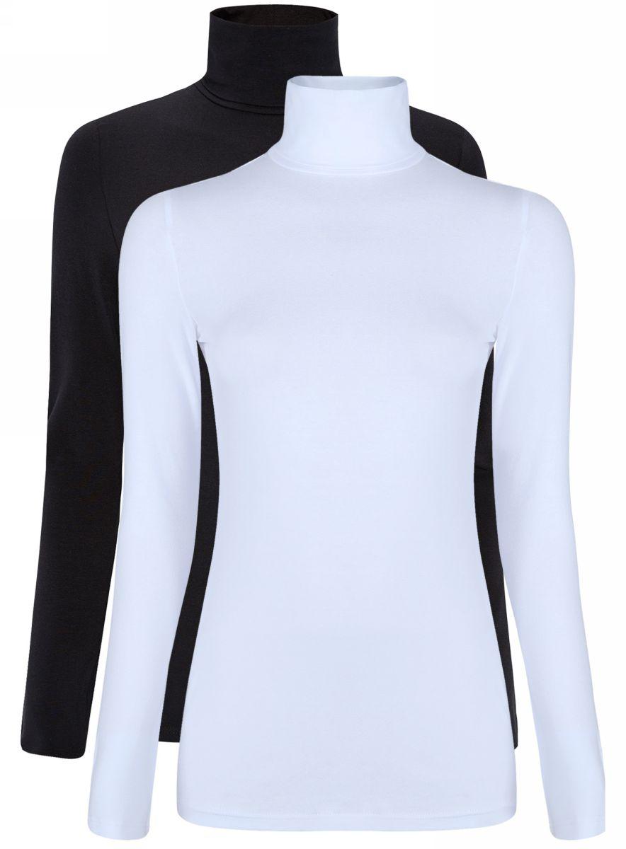 Водолазка женская oodji Ultra, цвет: черный, белый, 2 шт. 15E02001T2/46147/2910N. Размер S (44)15E02001T2/46147/2910NБазовая женская водолазка oodji Ultra выполнена из эластичной хлопковой ткани. У модели воротник-гольф и стандартные длинные рукава. В набор входит две водолазки.