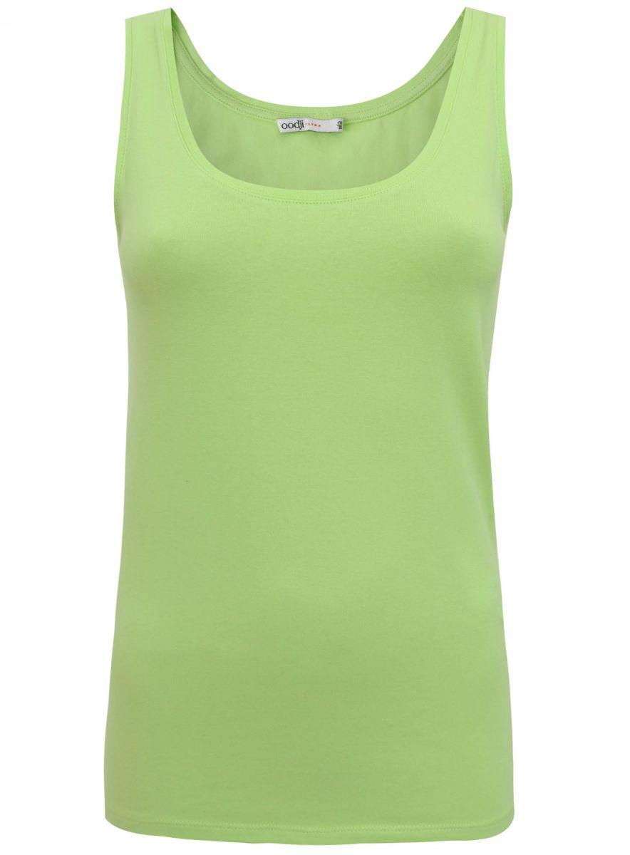Топ женский oodji Ultra, цвет: зеленый. 11305158-2/35582/6A00N. Размер 34-164 (40-164)11305158-2/35582/6A00NТоп