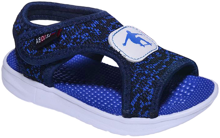 Сандалии для мальчика Счастливый ребенок, цвет: синий. DK101. Размер 30DK101Сандалии для мальчика Счастливый ребенок выполнены из текстиля и оформлены принтом и оригинальной нашивкой. Модель фиксируется на ноге с помощью липучки. Внутренняя поверхность изготовлена из текстиля, рельефная стелька - из искусственного материала. Подошва из полимерного термопластичного материала оснащена рифлением.