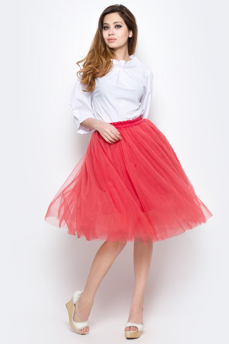 Юбка Be in, цвет: красный. Ю 46х-15. Размер 42/46Ю 46х-15Пышная юбка Be in изготовлена из прозрачного полиэстера. Модель средней длины выполнена с резинкой на талии.