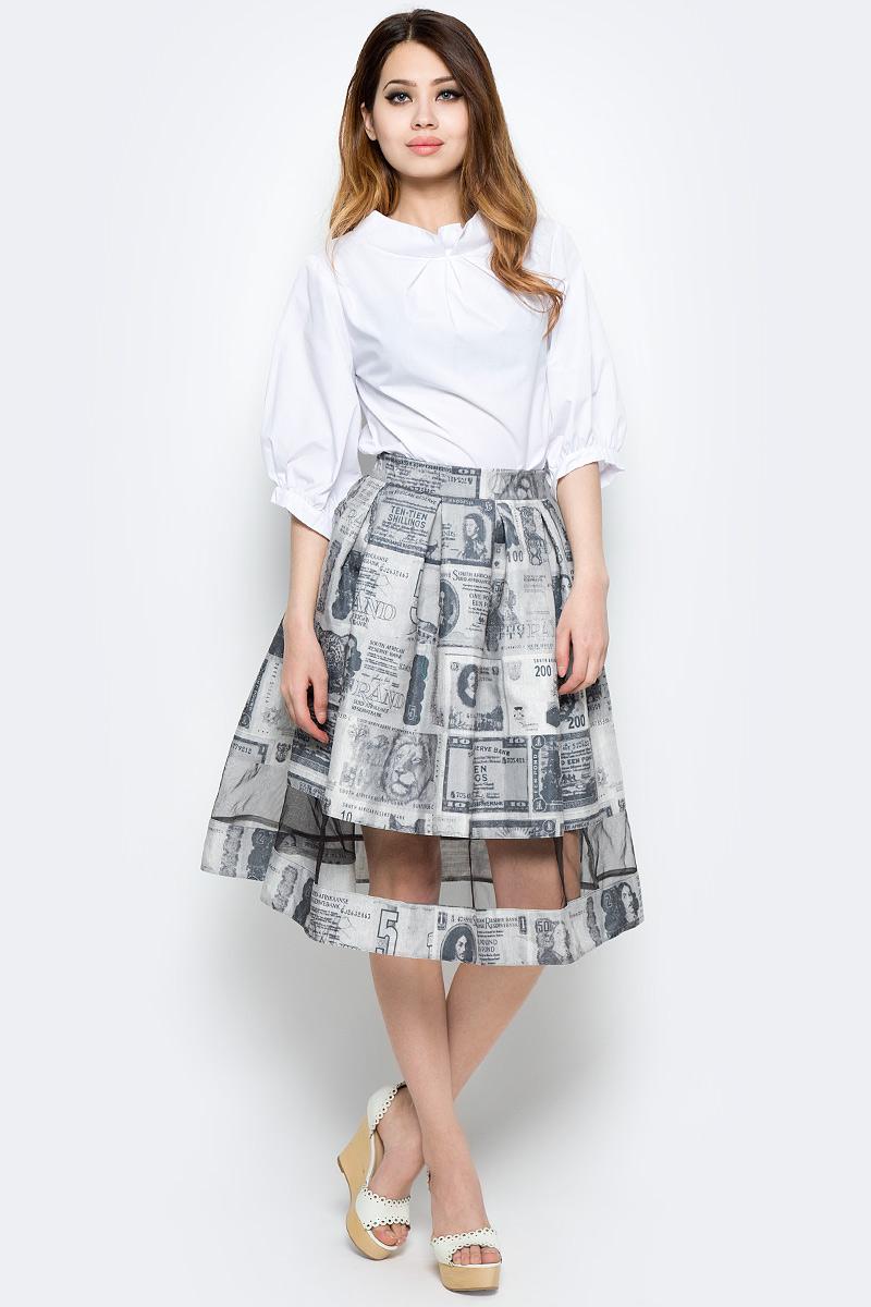 Юбка Be in, цвет: серый. Ю 44-132х. Размер 42/44Ю 44-132хПышная юбка Be in изготовлена из качественного полиэстера. Модель-миди дополнена прозрачной вставкой по всей ширине.