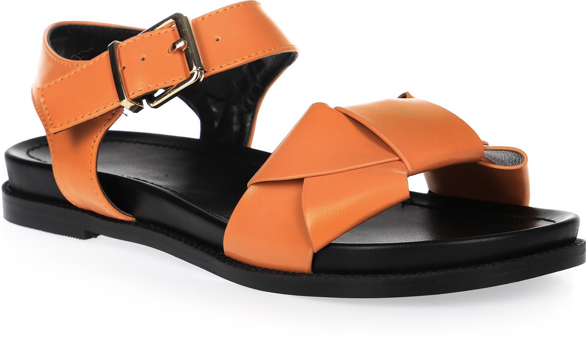 Сандалии женские LK collection, цвет: оранжевый. SP-FA2101-3 PU (SP-F03001-3). Размер 37SP-FA2101-3 PU (SP-F03001-3)Удобные сандалии на плоской подошве выполнены из искусственной кожи. Сандалии фиксируются на ноге при помощи застежки-пряжки.