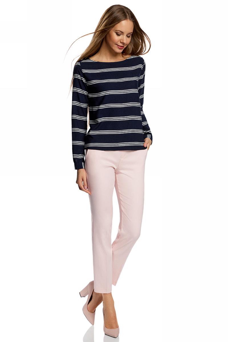 Брюки женские oodji Ultra, цвет: светло-розовый. 11706203-2/35669/4000N. Размер 38-170 (44-170)11706203-2/35669/4000NЖенские укороченные брюки от oodji зауженного кроя на эластичном поясе выполнены из высококачественного материала на основе вискозы.
