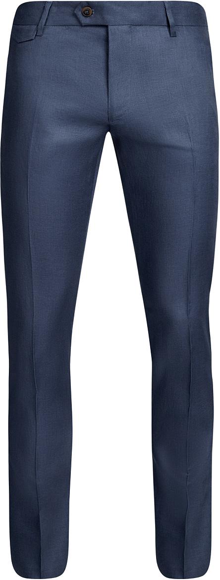Брюки мужские oodji Basic, цвет: синий. 2B210017M/34263N/7500N. Размер 40-182 (48-182)2B210017M/34263N/7500NМужские летние брюки oodji Basic выполнены из высококачественного материала. Модель стандартной посадки застегивается на пуговицу в поясе и ширинку на застежке-молнии. Пояс имеет шлевки для ремня. Спереди брюки дополнены втачными карманами, сзади - прорезными на пуговицах.