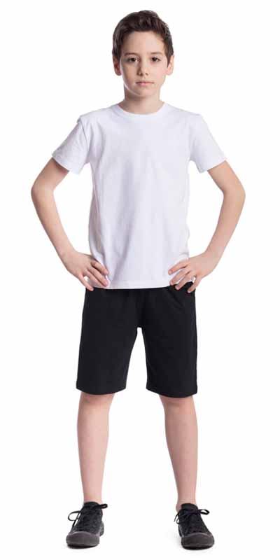 Комплект для мальчика Scool: футболка, шорты, цвет: белый, черный. 373462. Размер 128, 8 лет373462Классический комплект для мальчика Scool, выполненный из эластичного хлопка, состоит из футболки и шорт. Комплект прекрасно подойдет для занятий спортом. Добавление в материал эластана позволяет комплекту хорошо сесть по фигуре. Футболка имеет круглый вырез горловины и короткие рукава. Шорты дополнены в поясе регулируемым шнурком-кулиской. Спереди расположены два втачных кармана.