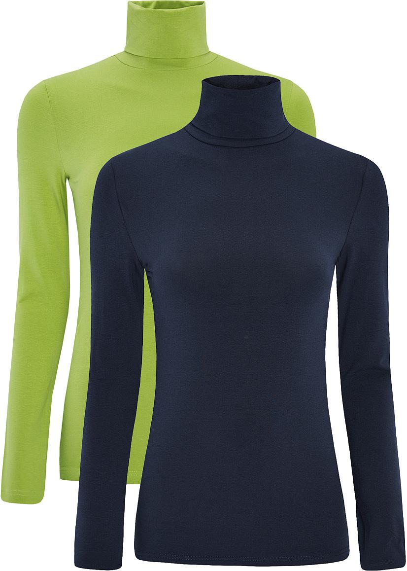 Водолазка женская oodji Ultra, цвет: зеленый, темно-синий, 2 шт. 15E02001T2/46147/6B79N. Размер XS (42)15E02001T2/46147/6B79NБазовая женская водолазка oodji Ultra выполнена из эластичной хлопковой ткани. У модели воротник-гольф и стандартные длинные рукава. В набор входит две водолазки.