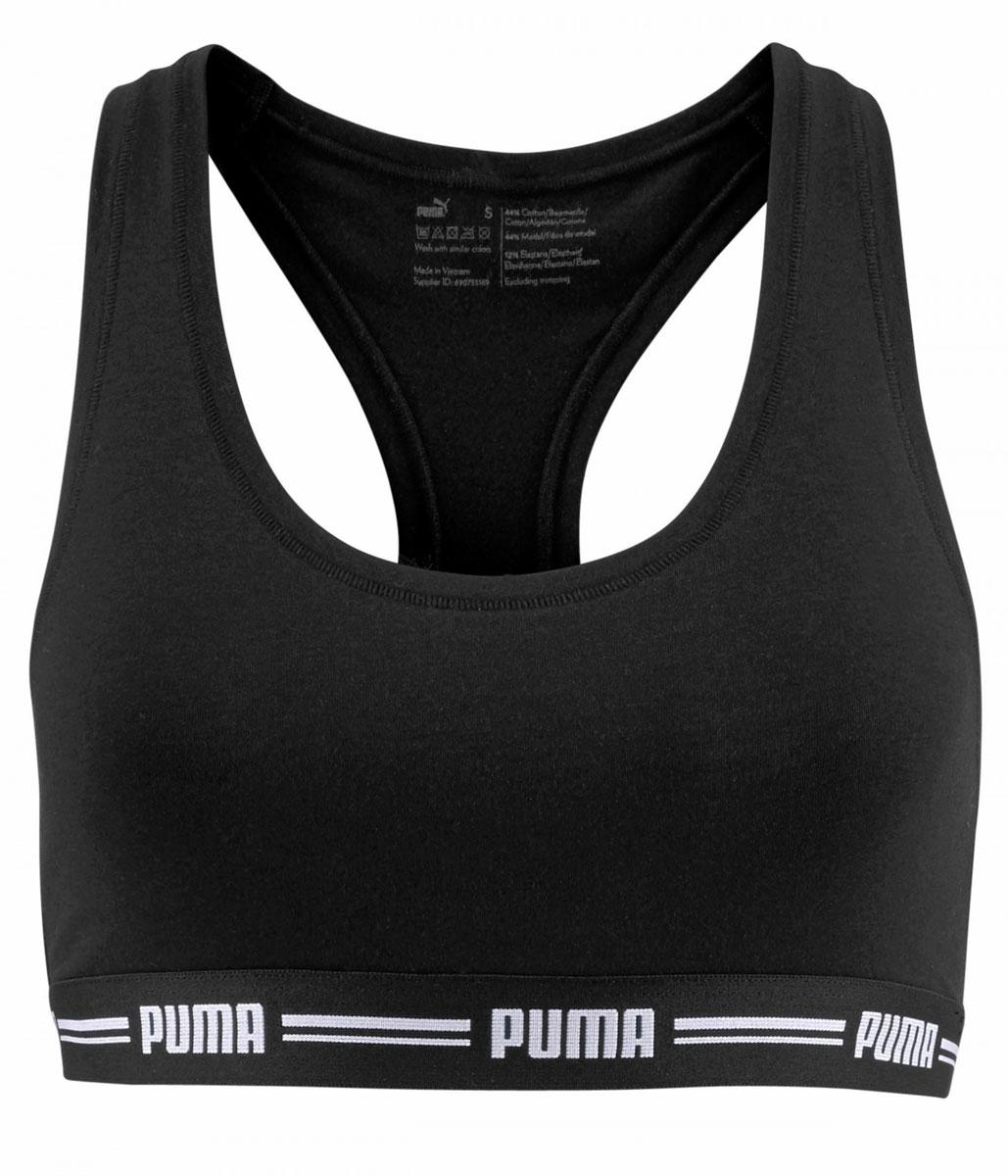 Топ-бра женский Puma Iconic Racer Back Bra 1, цвет: черный. 90688902. Размер XS (40/42)90688902Спортивный топ-бра Puma Iconic Racer Back Bra 1 выполнен из высококачественного эластичного материала. Модель на не регулируемых по длине бретелях имеет широкий эластичный пояс, который обеспечивает бережную поддержку. Широкие бретельки и спинка-борцовка надежно фиксируют топ на плечах.