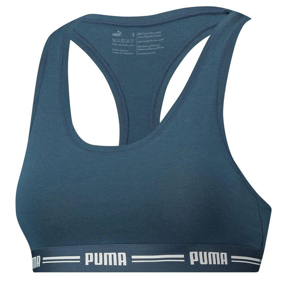 Топ-бра женский Puma Iconic Racer Back Bra 1, цвет: синий. 90688905. Размер XS (40/42)90688905Спортивный топ-бра Puma Iconic Racer Back Bra 1 выполнен из высококачественного эластичного материала. Модель на не регулируемых по длине бретелях имеет широкий эластичный пояс, который обеспечивает бережную поддержку. Широкие бретельки и спинка-борцовка надежно фиксируют топ на плечах.