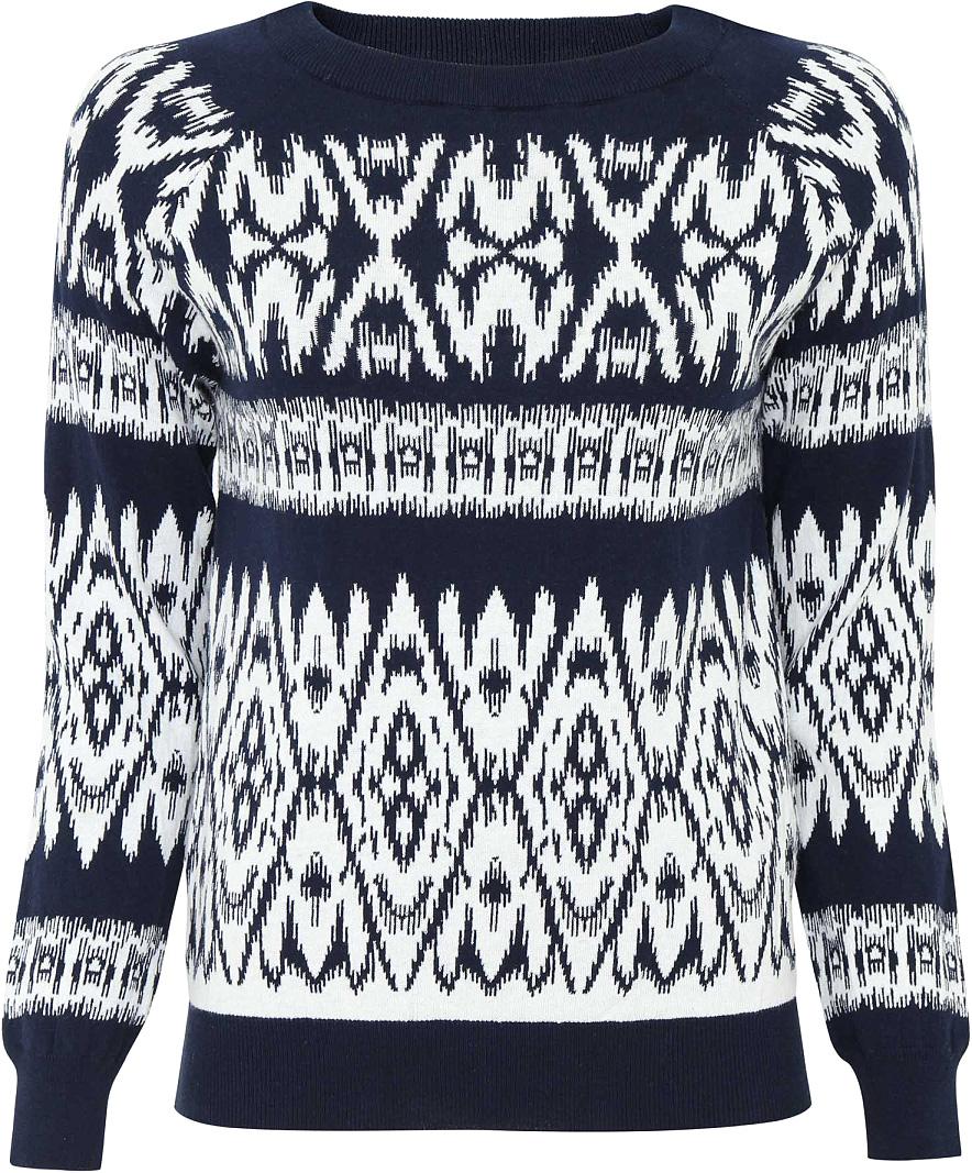 Джемпер женский oodji Ultra, цвет: темно-синий, белый. 63812508/42182/7912J. Размер XL (50)63812508/42182/7912JДжемпер oodji изготовлен из качественного смесового материала. Модель оформлена контрастным рисунком. Низ изделия и рукава выполнены с эластичными резинками.